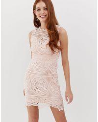 Glamorous Vestido recto con encaje y bordados - Rosa