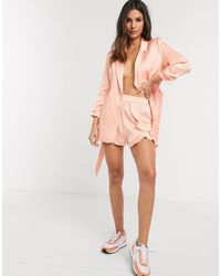 River Island Frill Sheen Co-ord Shorts - Pink