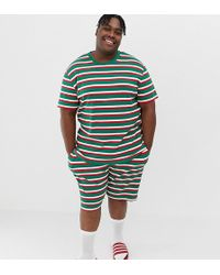 ASOS - Plus Holidays Short Pyjama Set In Festive Stripes - Lyst