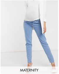 Missguided Missgudied Maternity Over The Bump Stretch Riot Jean - Blue