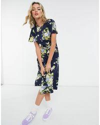 Warehouse Bonnie Rose Midi Dress - Blue