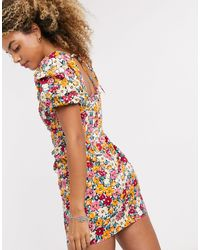 TOPSHOP Poplin Mini Tea Dress - Multicolour