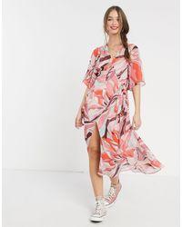 Liquorish Midi Wrap Dress - Pink