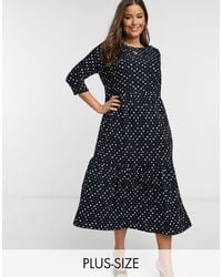 River Island Tiered Spotted Maxi Dress - Black