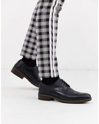 Red Tape Plain Leather Lace Up Shoe - Black