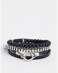 Icon Brand Set di bracciali neri - Metallizzato