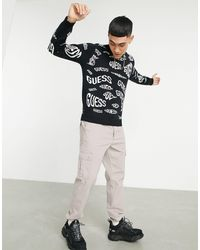 Guess Sweatshirt With All Over Logo - Black