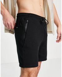 Pull&Bear Ottoman Jersey Shorts - Black