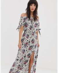 Band Of Gypsies Off Shoulder Maxi Dress With Tie Sleeves In White Floral Print