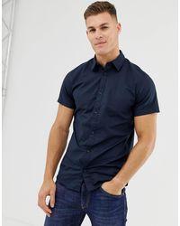 Jack & Jones – Marineblaues, kurzärmliges Baumwollhemd mit Stretchanteil