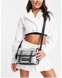 Love Moschino Bolso satchel plateado con logo - Metálico