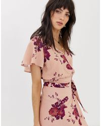 Band Of Gypsies Flutter Sleeve Top Two-piece - Pink