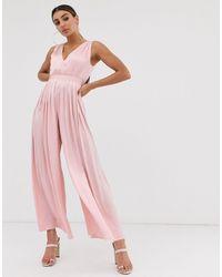 The Girlcode Satin Pleat Jumpsuit - Pink