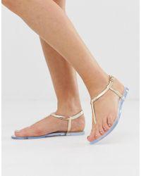 South Beach Rose Gold Jelly Toe Post Flat Sandals - Metallic