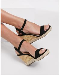 New Look Faux Suede 2 Part Wedge - Black