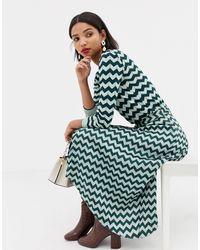 Mango Chevron Pleated Midi Skirt - Green