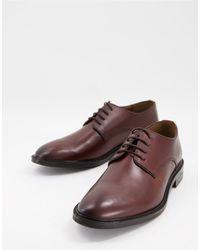 Walk London Oliver - Chaussures derby en cuir avec talon en métal - Fauve - Marron