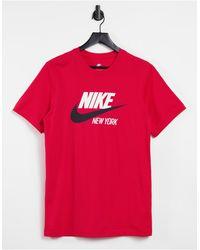 Nike Nyc Swoosh Logo T-shirt - Red