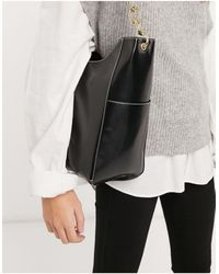 ASOS Glossed Black Shopper With Side Pockets And Chain Strap