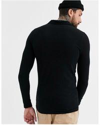 ASOS Organic Blend Muscle Fit Long Sleeve Jersey Shirt - Black