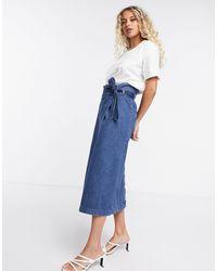SELECTED Denim High Waist Denim Skirt - Blue