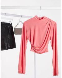 Flounce London Draped Crop Top - Pink