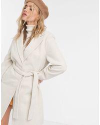 New Look – formeller mantel mit gürtel - Natur