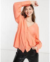 Y.A.S Кораллово-розовая Свободная Блузка С V-образным Вырезом -розовый Цвет