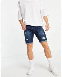 Hollister Short en jean effet vieilli - délavage foncé - Bleu