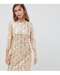 TFNC London Vestito a fascia con motivo geometrico di paillettes e schiena scoperta oro - Metallizzato