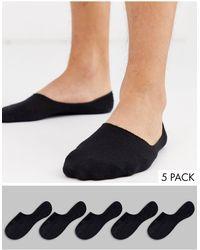 New Look Набор Из 5 Пар Черных Носков-невидимок -черный