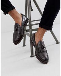 Farah Leather Tassel Loafer In Brown
