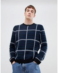 SELECTED - Knitted Jumper With Check Pattern - Lyst