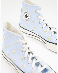 Converse Высокие Голубые Кроссовки С Цветочной Вышивкой Chuck 70-голубой - Синий