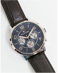 Tommy Hilfiger Часы На Коричневом Кожаном Ремешке -коричневый Цвет