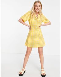 Monki - Желтое Платье-рубашка Мини В Клетку Maja-желтый - Lyst