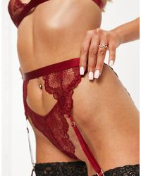 ASOS Rosie - Porte-jarretelles en dentelle - Rouge
