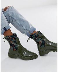 ASOS Genius Sock Rain Boots - Green