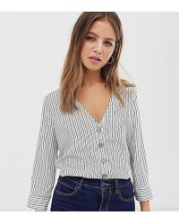 Pimkie - V Neck Button Front Blouse In Stripe Print - Lyst