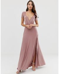 ASOS Scallop Lace Top Pleated Maxi Dress - Pink