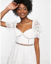 Bardot Sheer Sleeve Lace Mini Dress - White