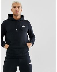 fa102c6fb PUMA - Sudadera con capucha y logo pequeo en negro Essentials de - Lyst