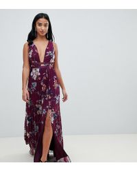 ASOS - Asos Design Petite Pleated Maxi Dress With Tape Detail In Winter Floral Print - Lyst