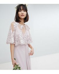 TFNC London - Lace Embroidered Cape Cover Up - Lyst