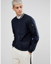 Casual Friday Bomber Jacket In Pinstripe - Blue