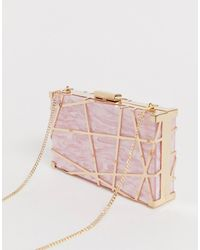 Forever New Cage Clutch In Pink Marble