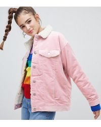 Monki - Shearling Collar Cord Jacket In Pink - Lyst
