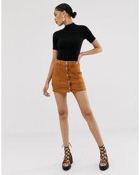 Bershka Button Front Mini Skirt - Brown