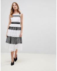 ASOS - Premium Lace Pinny Midi Dress - Lyst