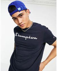 Champion Темно-синяя Футболка С Крупным Рукописным Логотипом На Груди -темно-синий